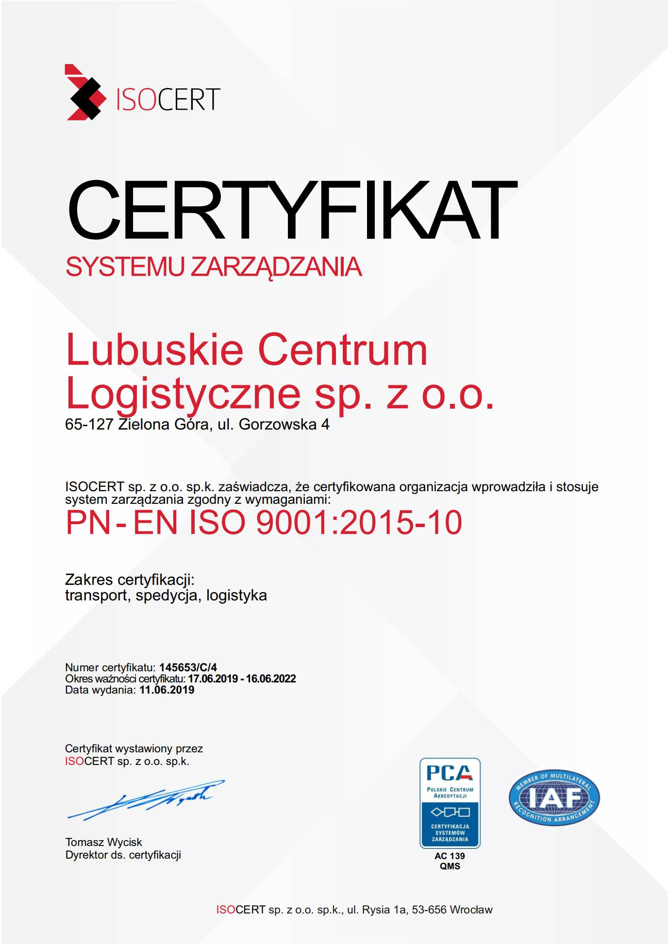 ISO CERTIFICATES AND LICENCES